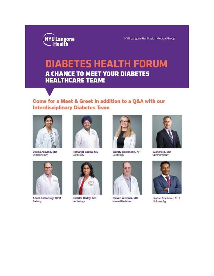 Oct 25 | Diabetes Health Forum- At NYU Langone Huntington