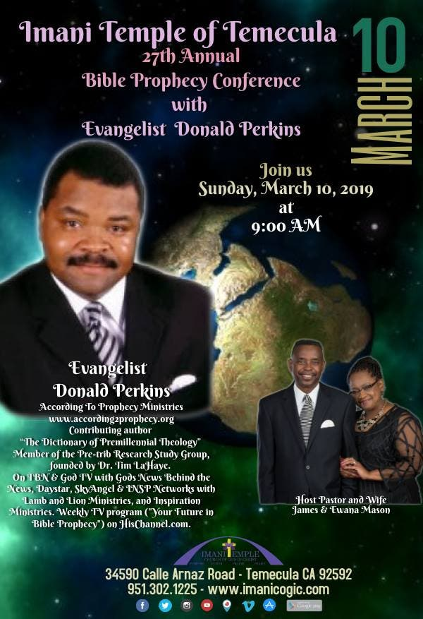 Mar 10   Bible Prophecy Conference!   Temecula, CA Patch