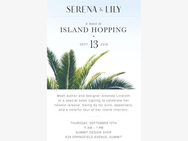 Sep 14 Join Serena Lily For A Book Signing With Amanda Lindroth