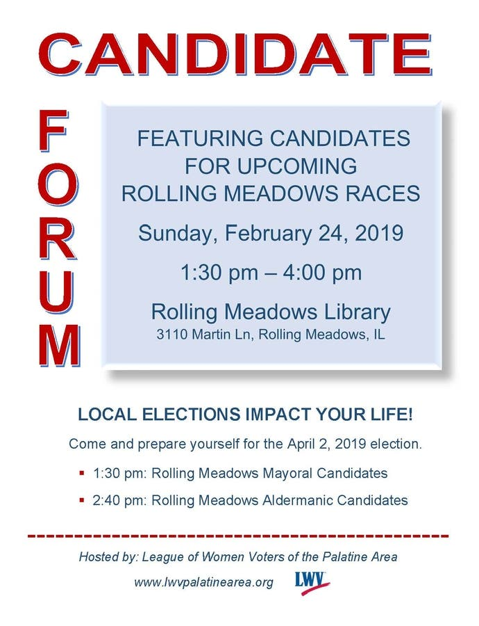 Feb 24 | Candidate Forum Rolling Meadows Elections | Arlington