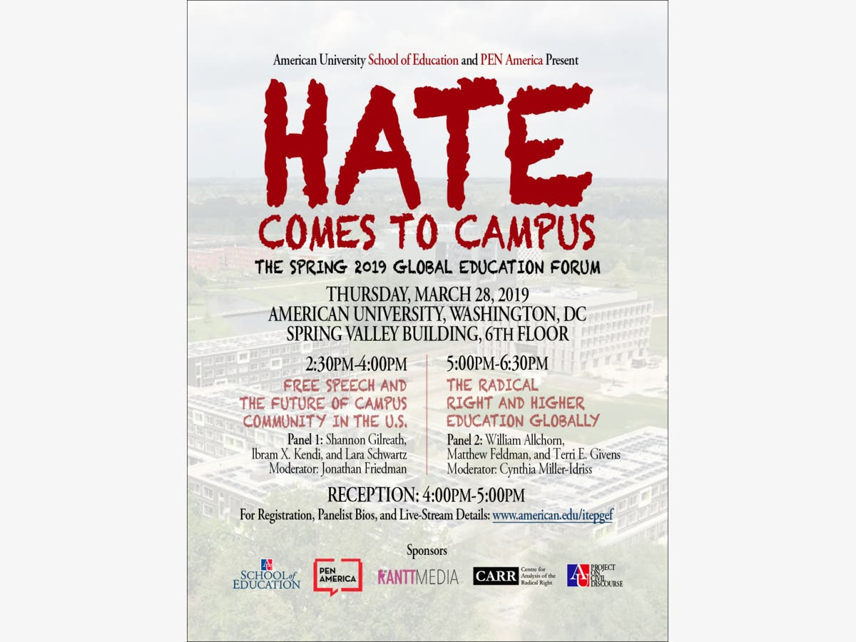 Mar 28   Hate Comes to Campus: Global Education Forum