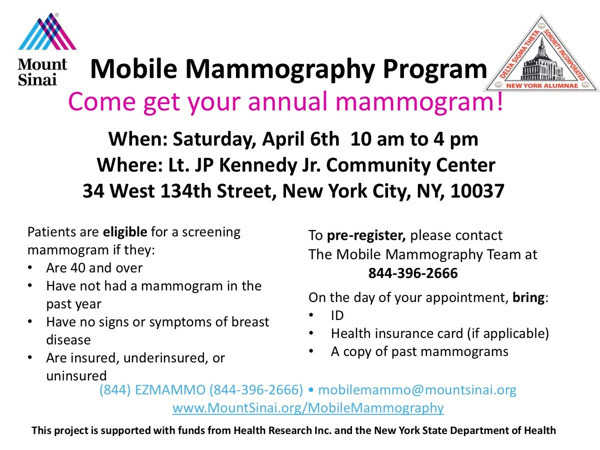 Apr 6 | Mount Sinai & NYAC DST Sorority: Mobile Mammography