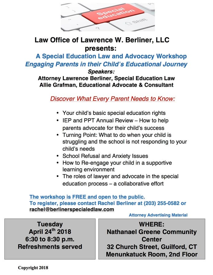 Apr 24 | Special Education Law and Advocacy Workshop in Guilford, CT