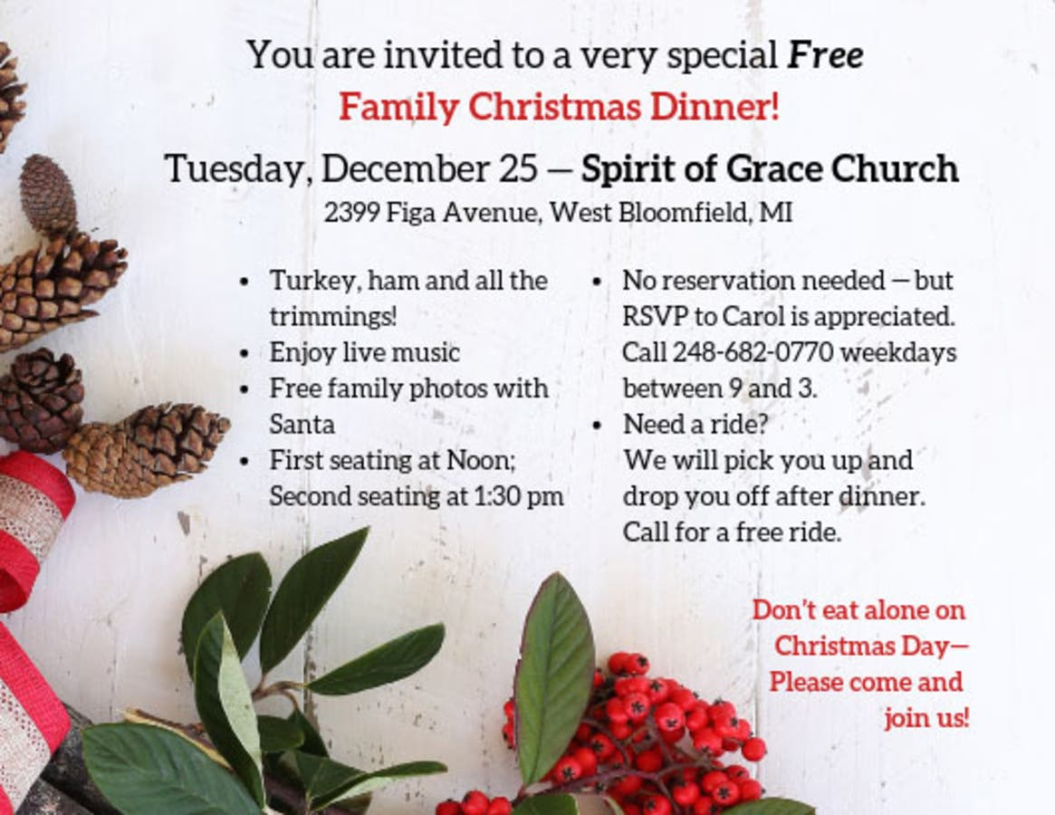 Church Christmas Dinner.Dec 25 Free Christmas Day Family Dinner At Spirit Of Grace Church
