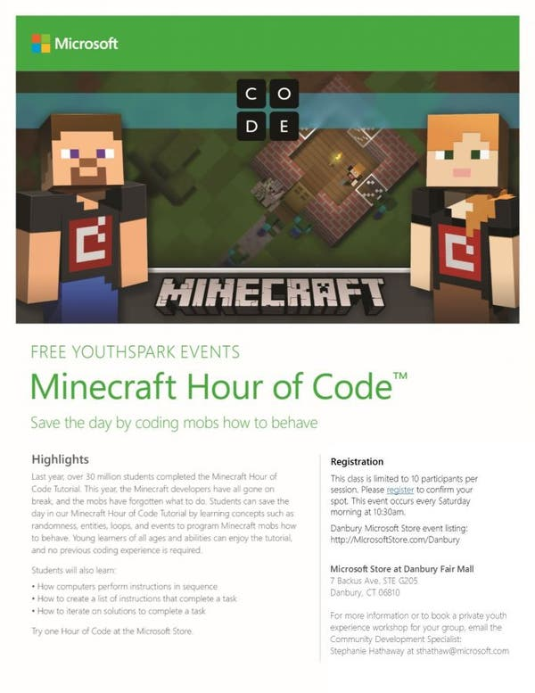 Apr 22 | FREE Youthspark Events at Microsoft Store- Hour of Code