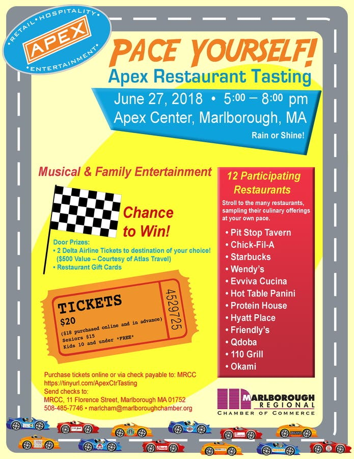 Jun 27 Pace Yourself Apex Restaurant Tasting
