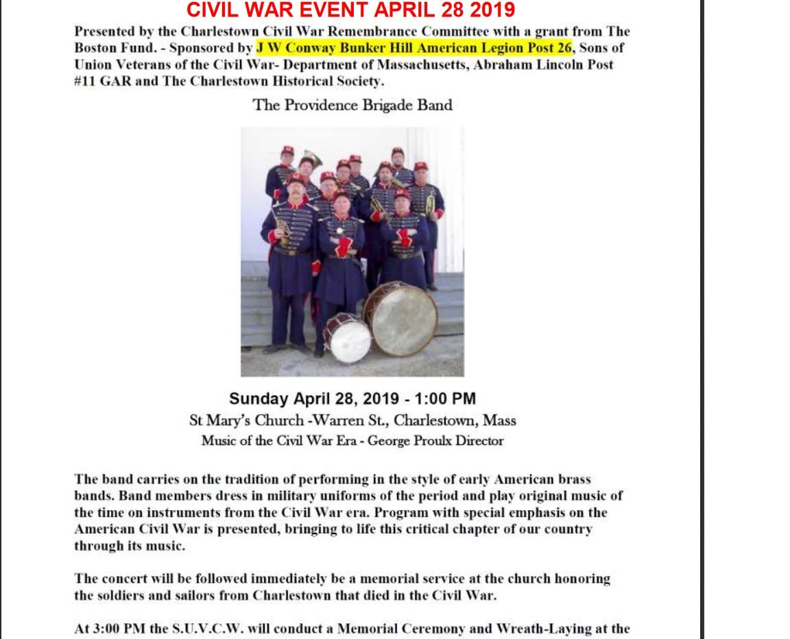 Apr 28 | Honoring Men of Charlestown Who served in the Civil