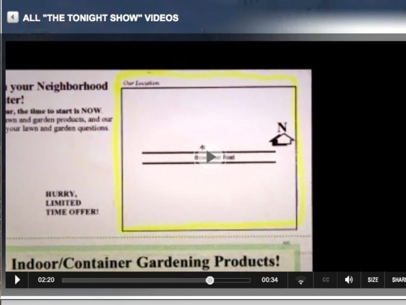 bayside garden center featured on tonight show with jay leno - Bayside Garden Center