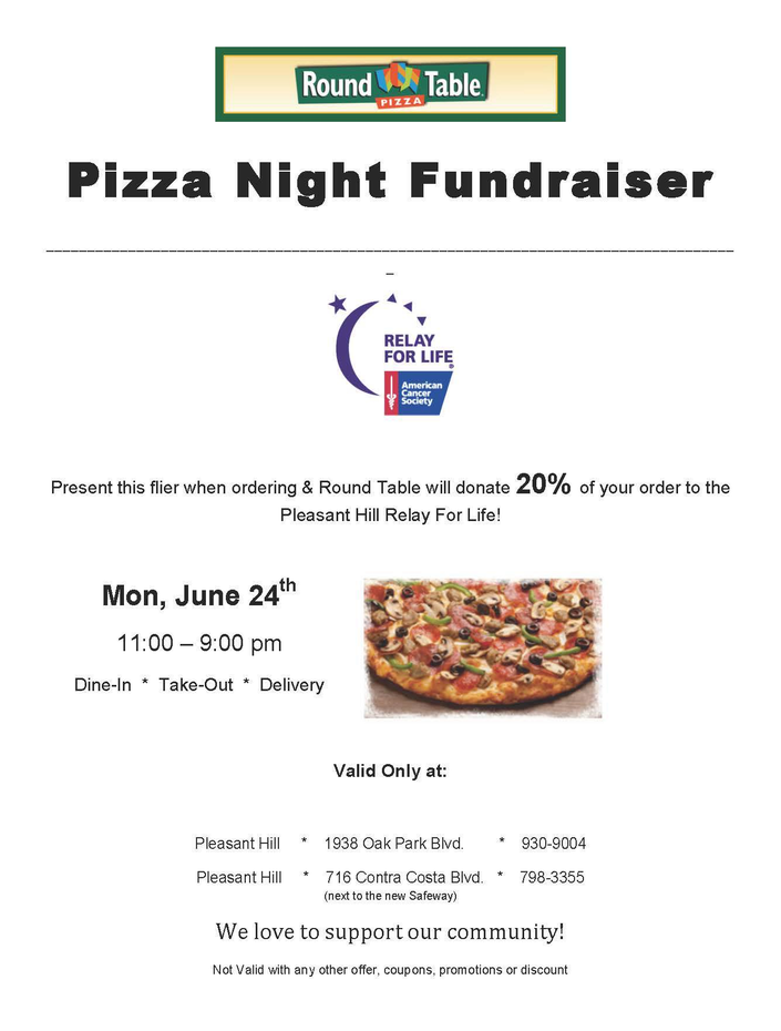 Relay For Life To Host Pizza Fundraiser Pleasant Hill Ca