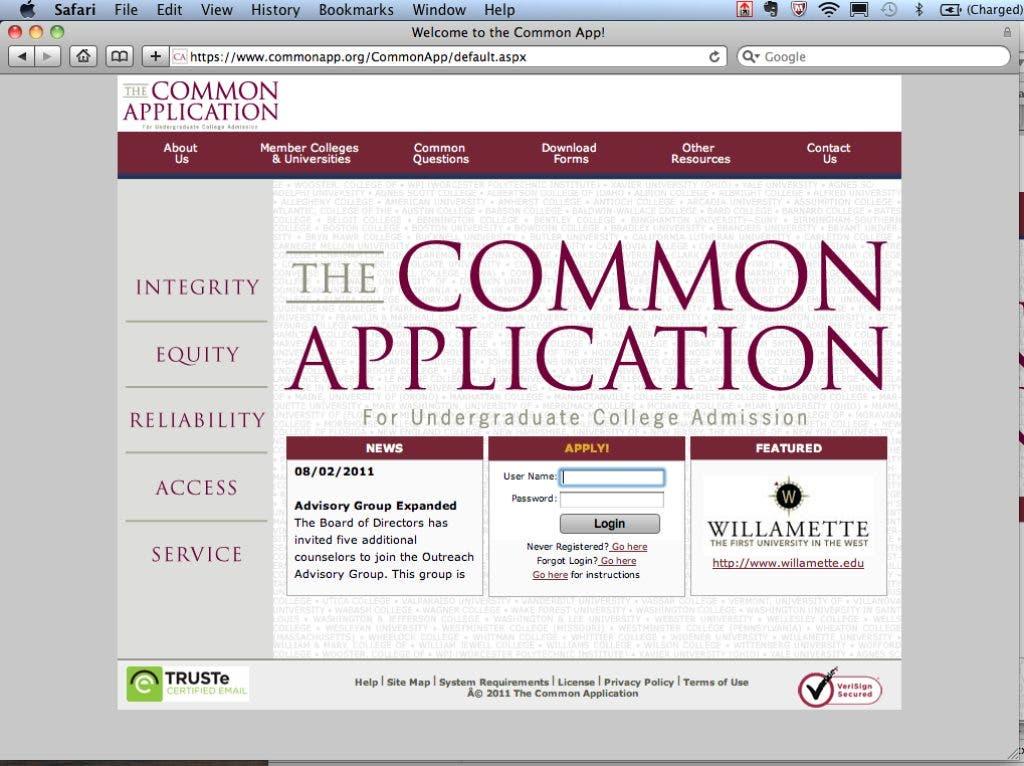the common app login