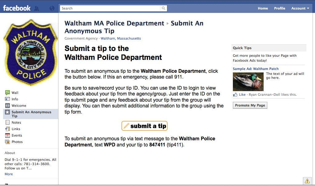 Waltham Police Unveil Online Tip System | Waltham, MA Patch