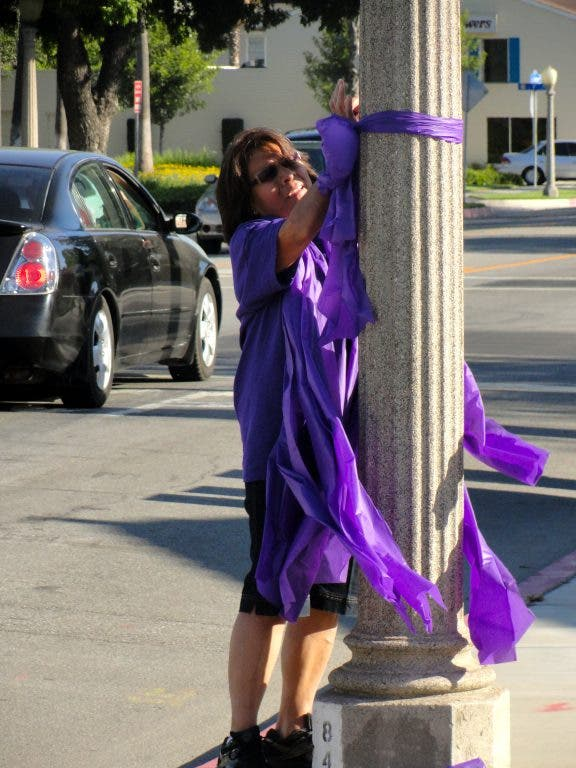 Purple Ribbons Meant to Spur Residents to Participate in