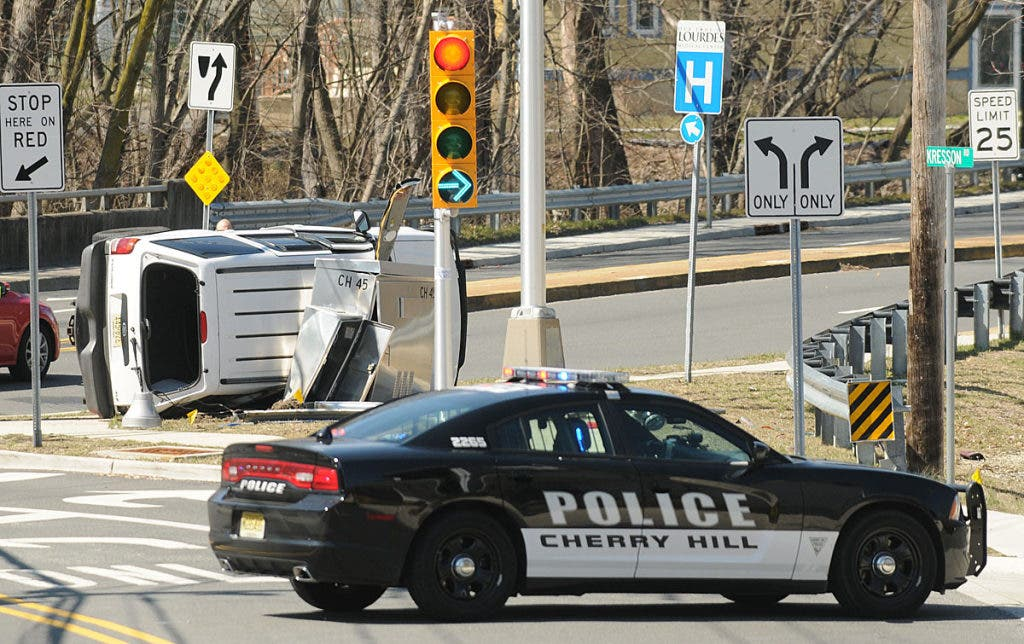 SUV Flips in Crash at Kresson and Berlin