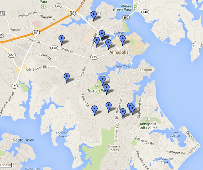 See Crime Across the City Using this Map | Annapolis, MD Patch on map of whitaker, map of joppatowne, map of prince george's, map of cobb island, map of riva, map of monocacy national battlefield, map of glen echo, map of mount vernon area, map of colonial heights, map of charleston, map of st. mary's city, map of lanham, map of locust point, map of millers island, map of black point, map of cumberland valley, map of ne washington, map of delmar, map of balitimore, map of east bremerton,