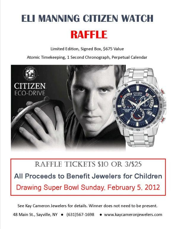 Eli Manning Limited Edition Citizen Watch Raffle | Sayville