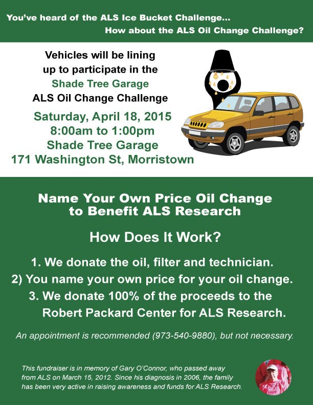 Name Your Own Price Oil Change Als Fundraiser Set For April 18th At Shade Tree Garage