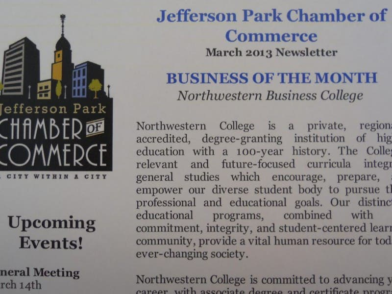 Jefferson Park Chamber Selects Northwestern College As Its March