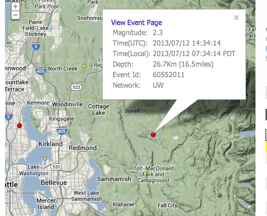 Small Earthquake Reported Near Redmond—Did You Feel It