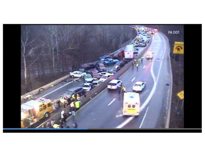 I-76 Closed After Massive Pileup of Two Dozen Cars | Montgomeryville