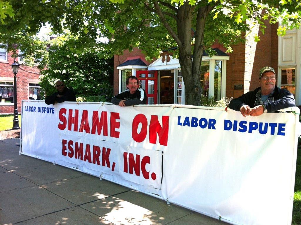 Carpenters Union Protests Esmark Building Contractor
