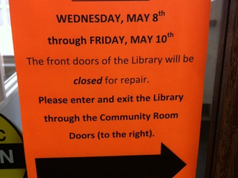 Patrons Asked To Use Library Side Door During Front Door