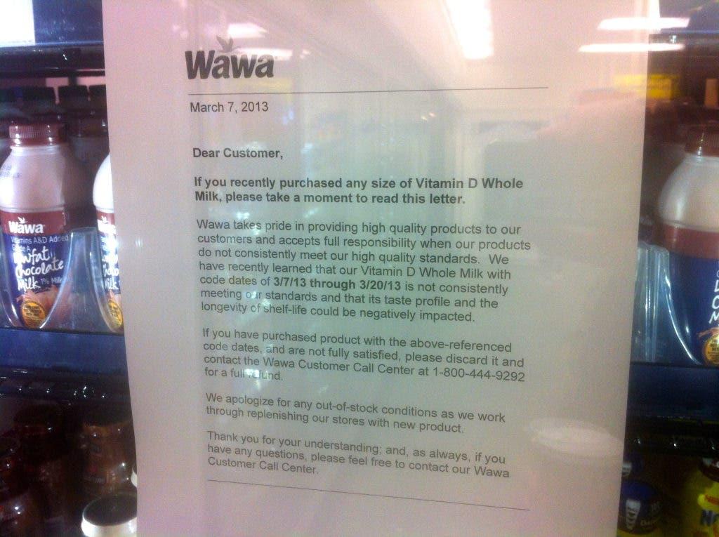 Wawa: Milk Batch Not Up to Standards | Malvern, PA Patch
