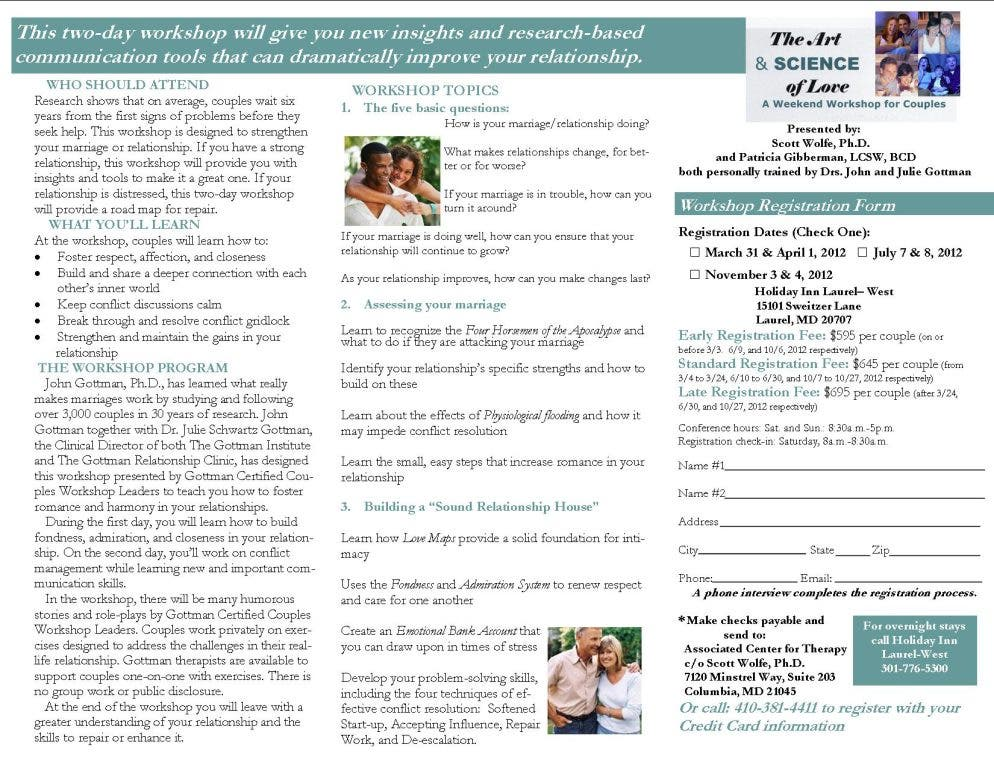Gottman Weekend Workshop for Couples: The Art and Science of Love