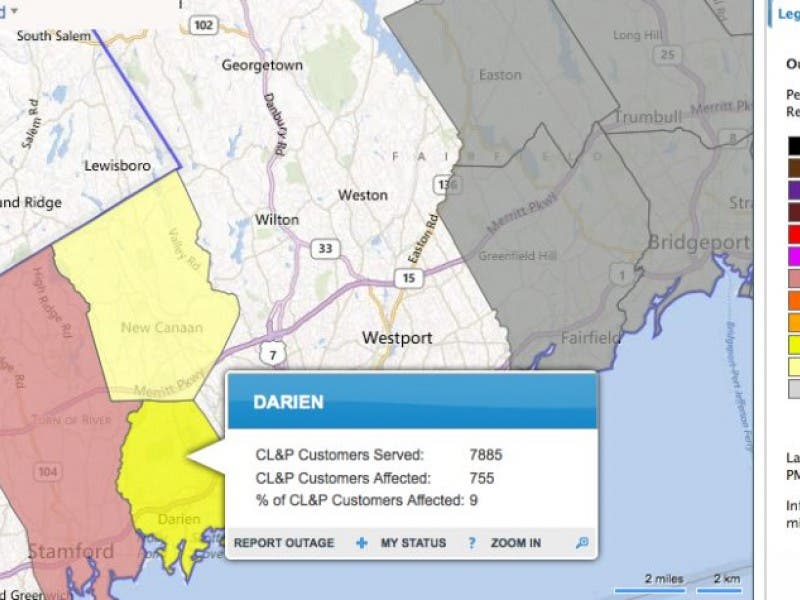 Cl P Power Outage Map.Power Out Early Thurs Evening In Darien Stamford New Canaan