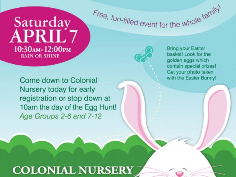 Free Egg Hunt At Colonial Nursery