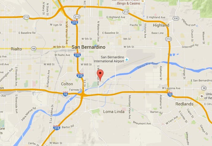 Shooting Spree in San Bernardino Leaves At Least 14 Dead, 17 ... on hodge road shooting map, imperial blm map, california gold rush map, shooting apple valley map, holcomb valley gold rush map, california shooting map, riverside blm land map, clark county shooting map, san bernardio county map, chattanooga shooting map, palm springs shooting map, baltimore shooting map,