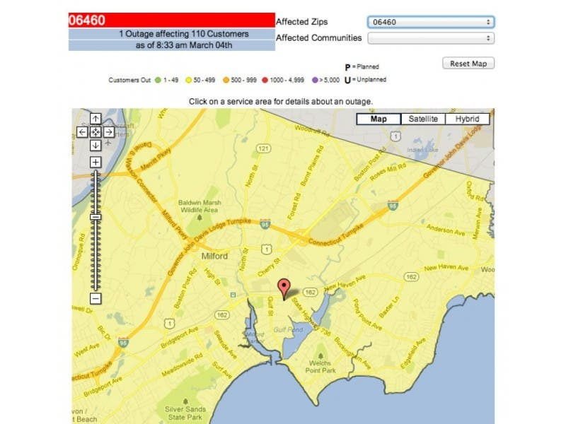 Ct Power Outage Map Ui.Update Power Back On In Milford Milford Ct Patch