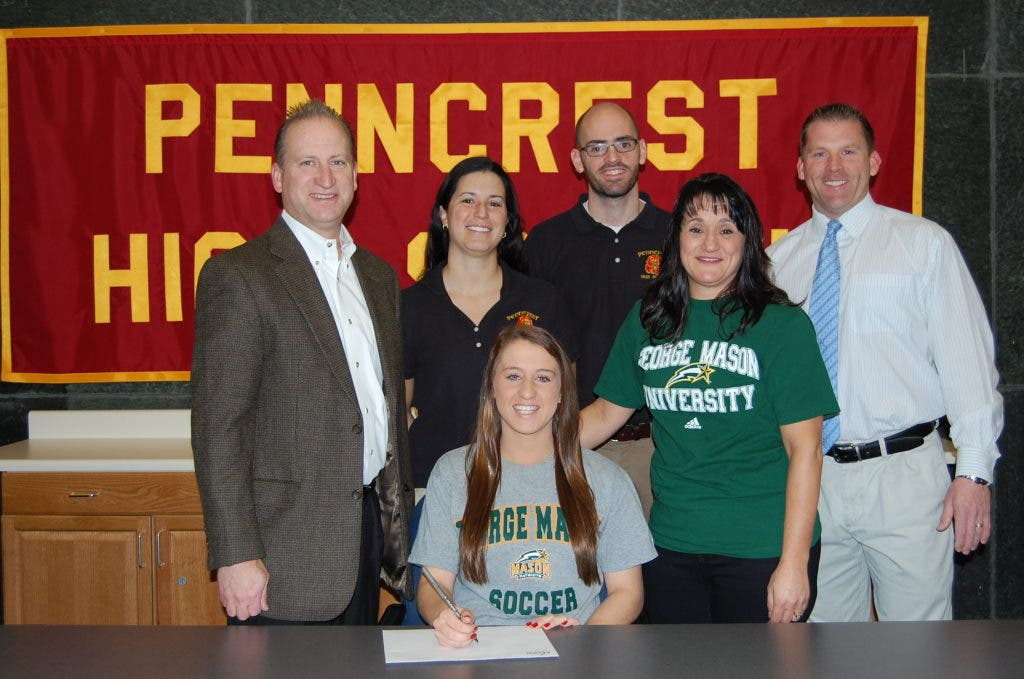 penncrest soccer player signs with george mason