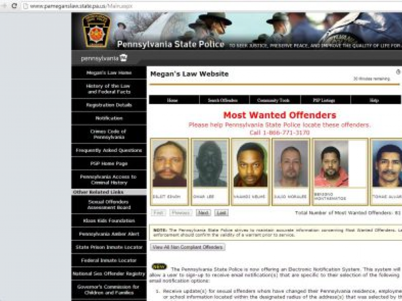 Offender Search Map on