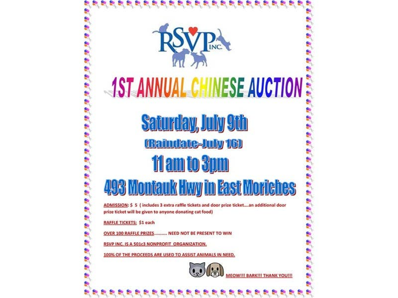 chinese auction benefiting rsvp inc animal welfare rescue group