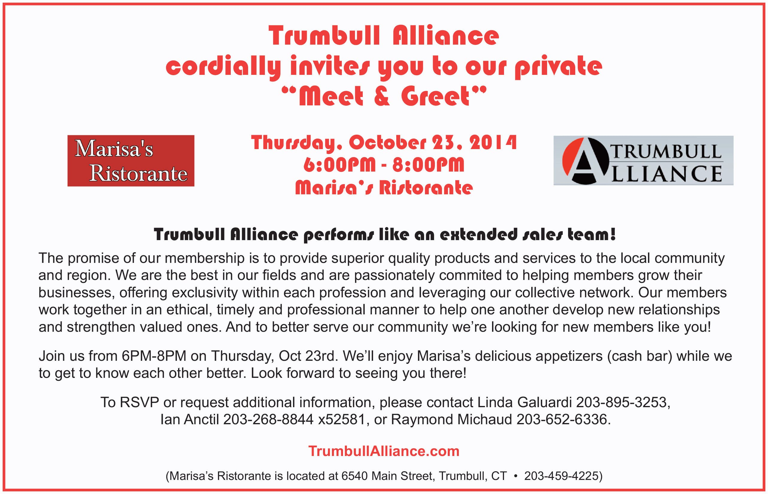 TRUMBULL ALLIANCE INVITES YOU TO