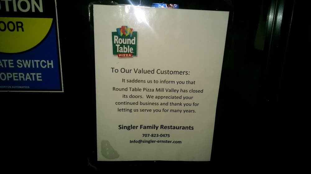 Round Table Pleasanton Ca.Round Table Pizza Closes Suddenly Mill Valley Ca Patch