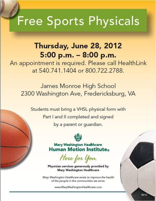 sports physical form washington  Free Sports Physicals | Fredericksburg, VA Patch