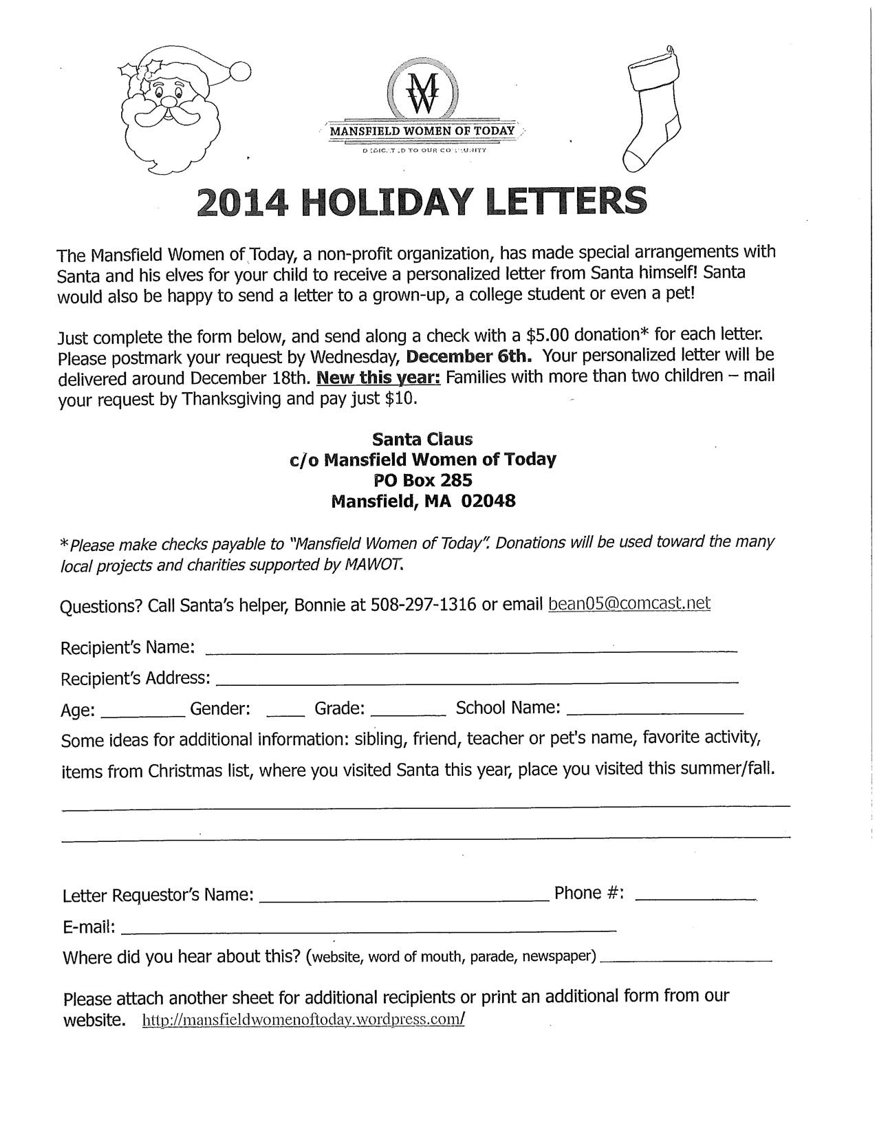 Christmas Holiday Request Letter.Mansfield Women Of Today Offering Letters From Santa