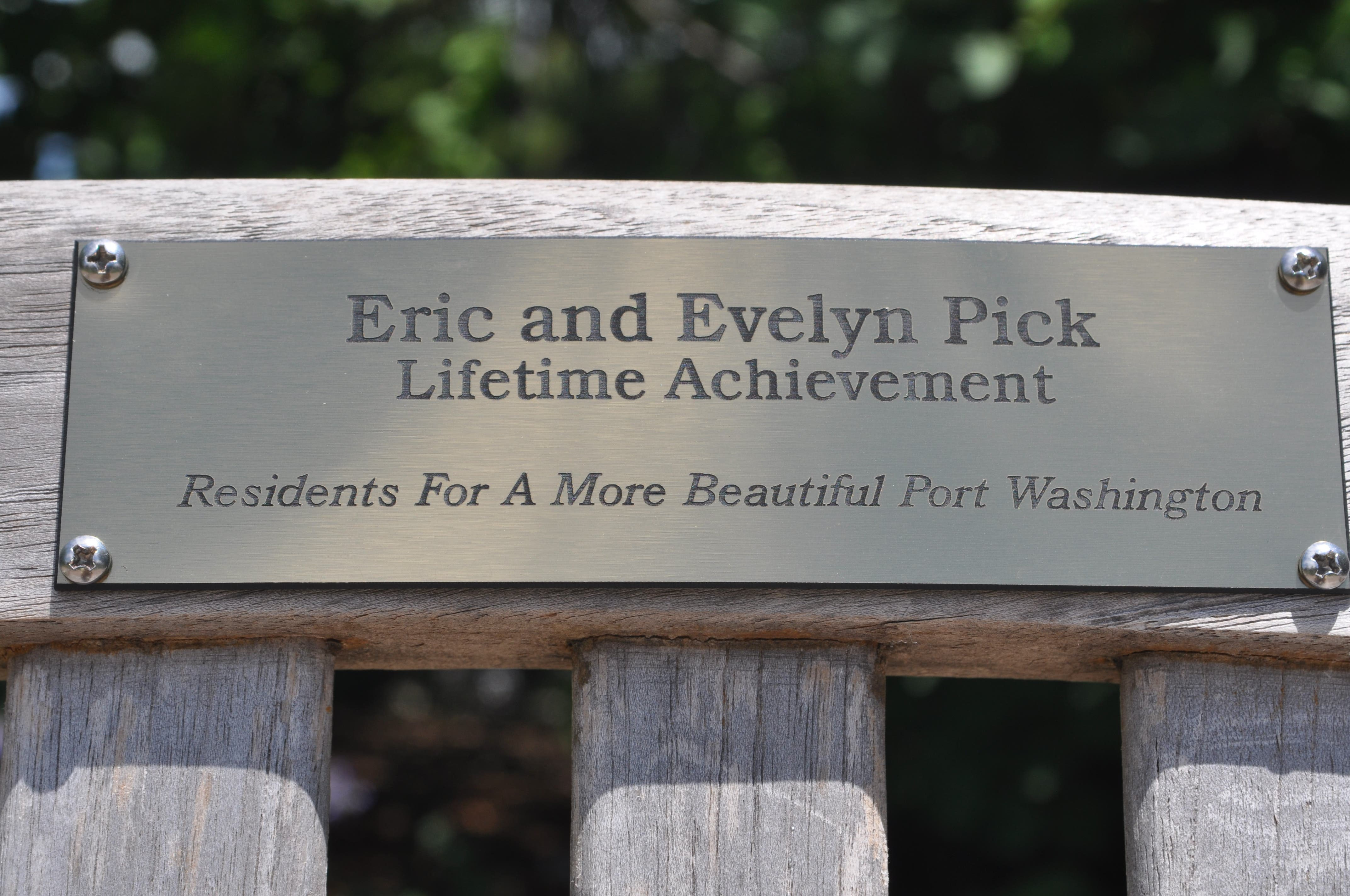 Bench Dedicated In Honor Of Eric And Evelyn Pick Port