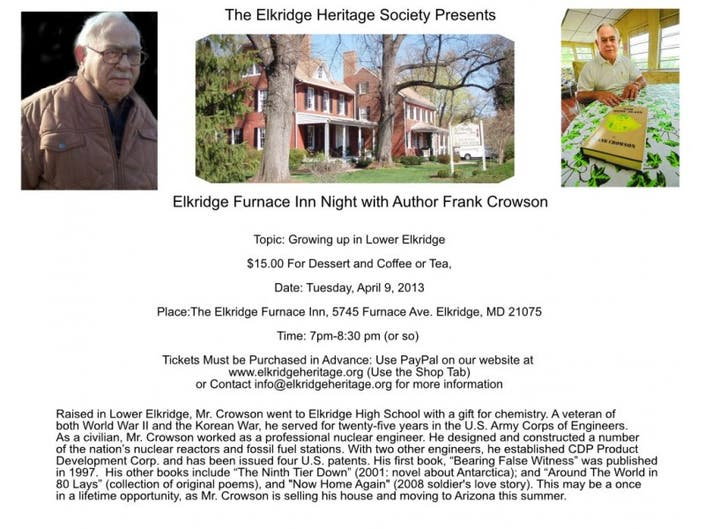Elkridge Heritage Society: **** Elkridge Furnace Inn Dessert Night