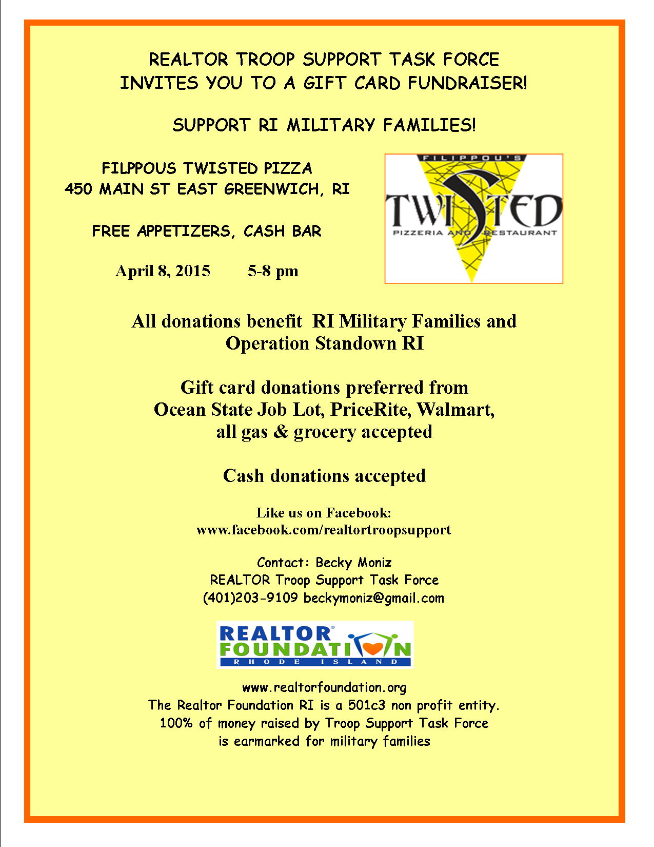 Gift Card fundraiser for Military Families- Filippous Twisted Pizza