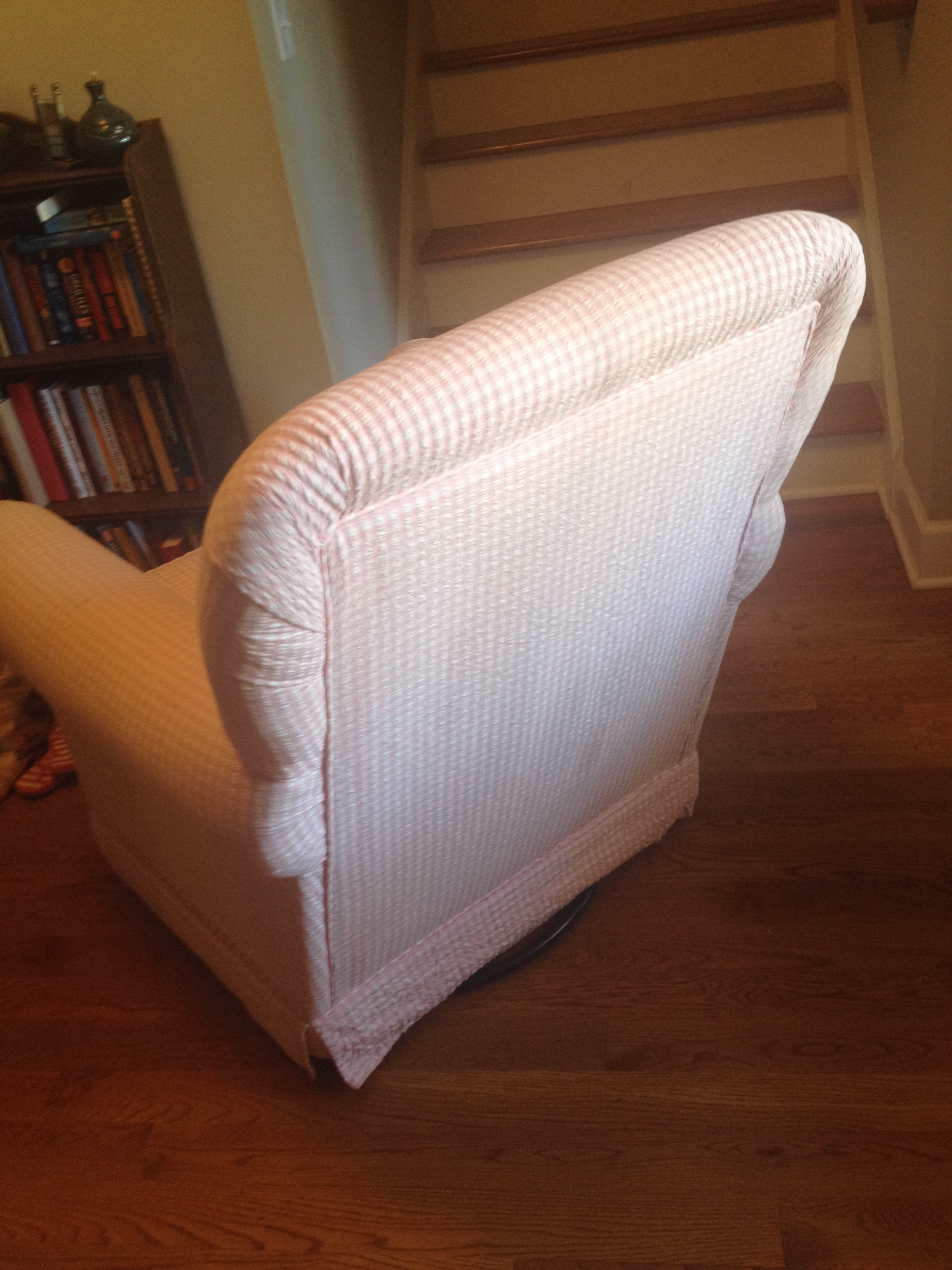 Superb For Sale Upholstered Pink Gingham Swivel Glider Chair Lamtechconsult Wood Chair Design Ideas Lamtechconsultcom