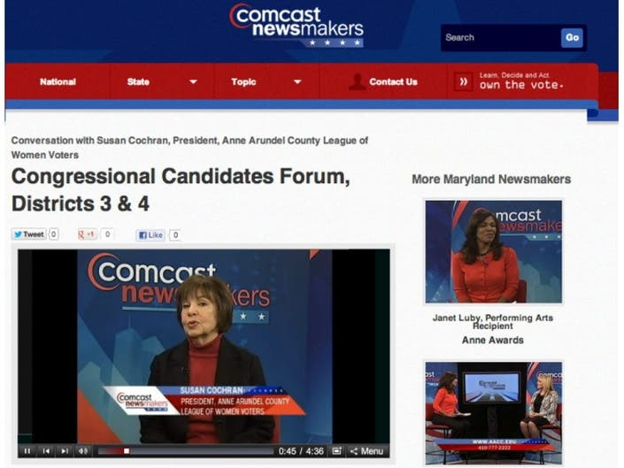 County LWV President Talks to Comcast about Voters' Forum