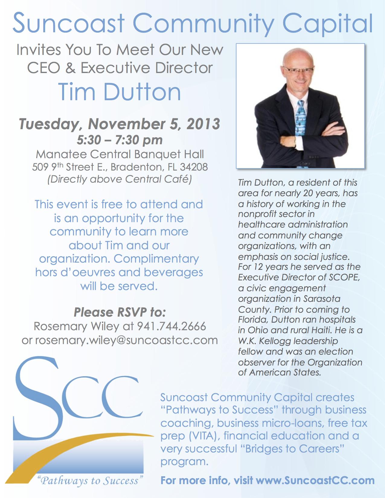 Meet & Greet Suncoast Community Capital Executive Director Tim Dutton |  Bradenton, FL Patch