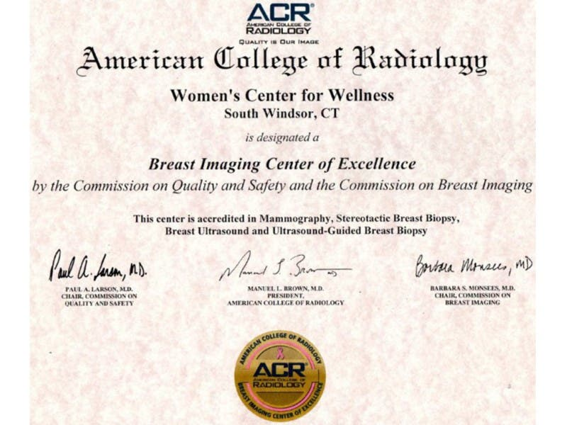 Echns Womens Center For Wellness Designated An Acr Breast Imaging