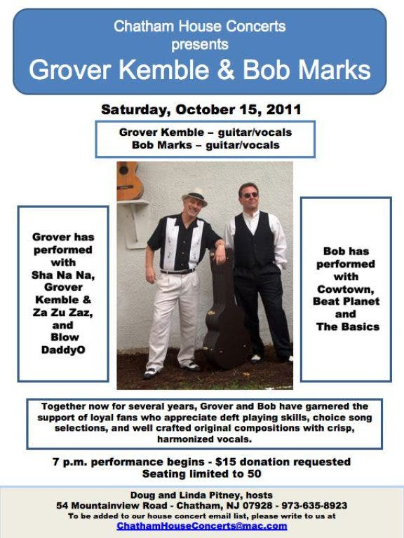 Chatham House Concerts Presents Grover Kemble & Bob Marks | Madison
