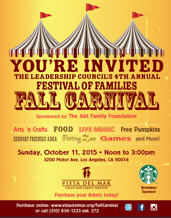Vista Del Mar Child Family Services Invites You To The 4rth Annual Festival Of Families Fall Carnival Westwood Ca Patch