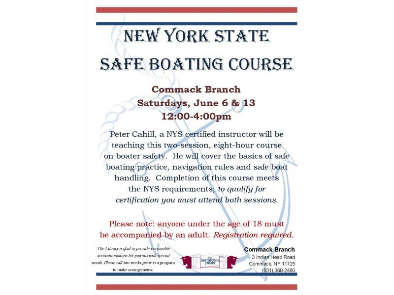 New York State Safe Boating Course At The Smithtown Library Commack