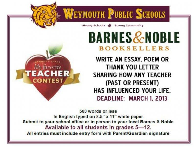 Weymouth Students Invited To Nominate My Favorite Teacher Contest  Weymouth Students Invited To Nominate My Favorite Teacher Contest