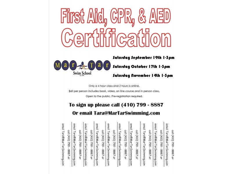 Cpr First Aid And Aed Certification Classes At Martar Swim School